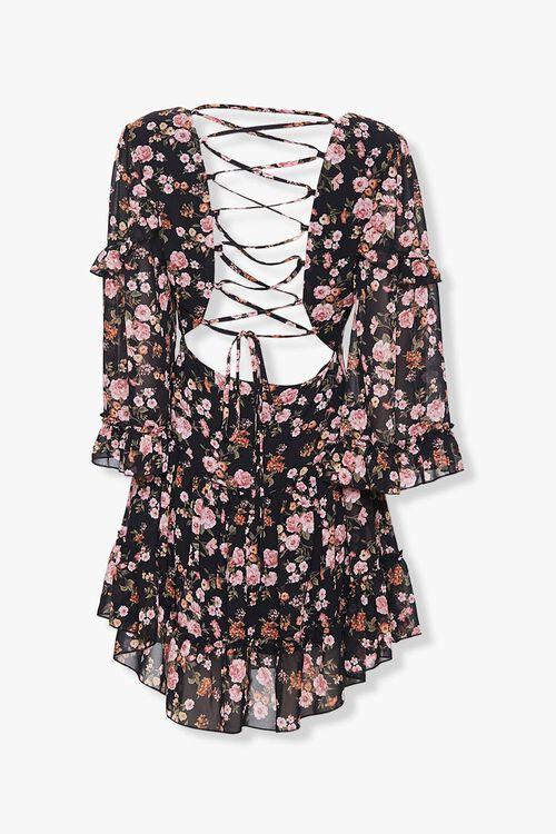 Chiffon Floral Lace-Up Dress, image 2