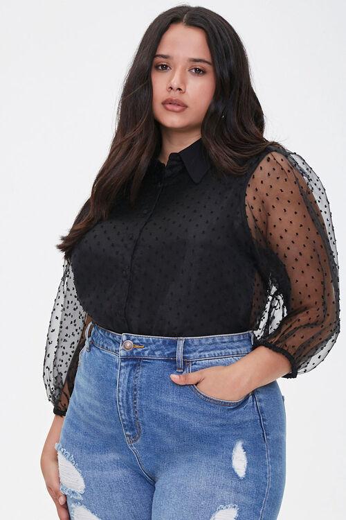 Plus Size Clip Dot Organza Shirt, image 1