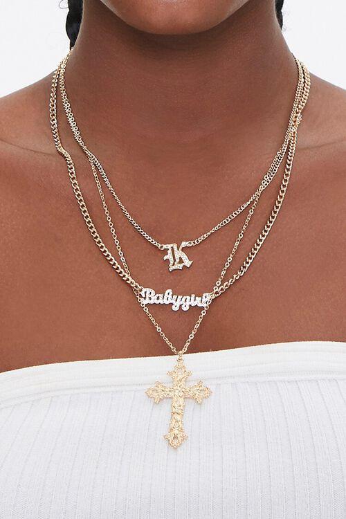 Babygirl & Cross Pendant Layered Necklace, image 1