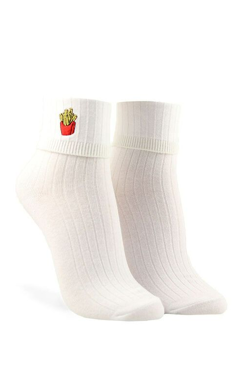 Embroidered French Fry Crew Socks, image 1