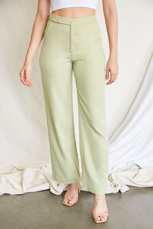 GREEN Buttoned Wide-Leg Pants, image 2