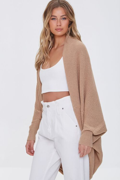 TAUPE Ribbed Open-Front Cardigan Sweater, image 1