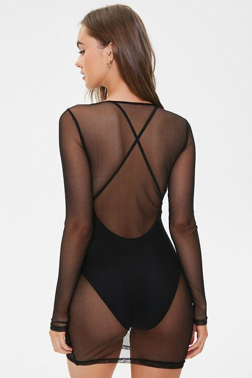 Sheer Mesh Swim Cover-Up Dress, image 3