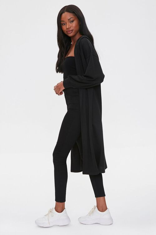 Fleece Hooded Duster Jacket, image 2