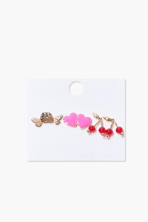 Butterfly & Heart Charm Stud Earring Set, image 1