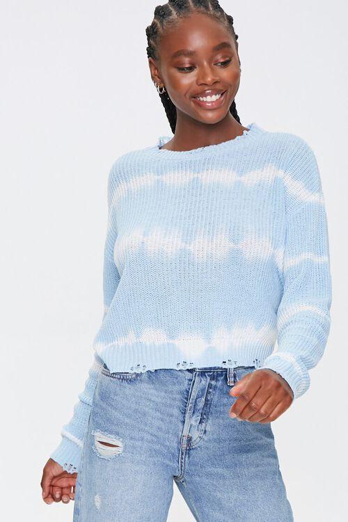 BLUE/CREAM Striped Tie-Dye Sweater, image 1