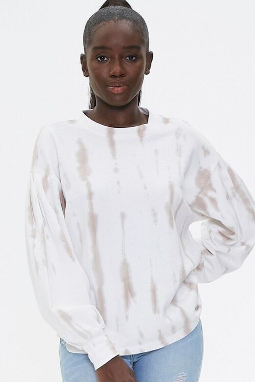 TAUPE/WHITE Tie-Dye Wash Pullover Top, image 1