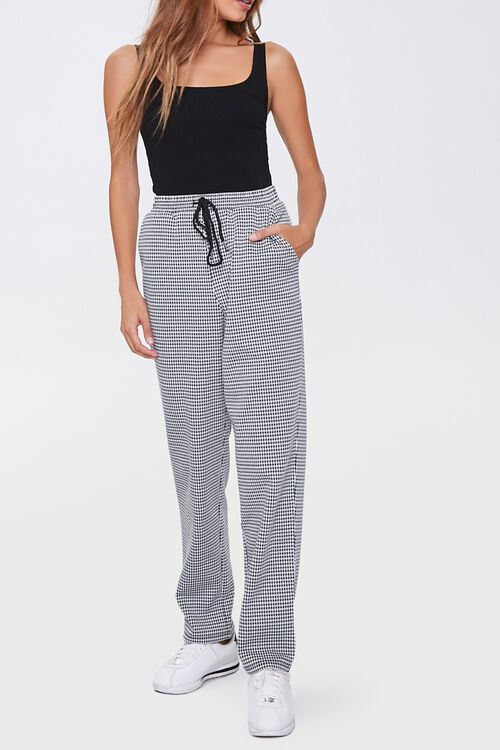Houndstooth Wide-Leg Pants, image 1