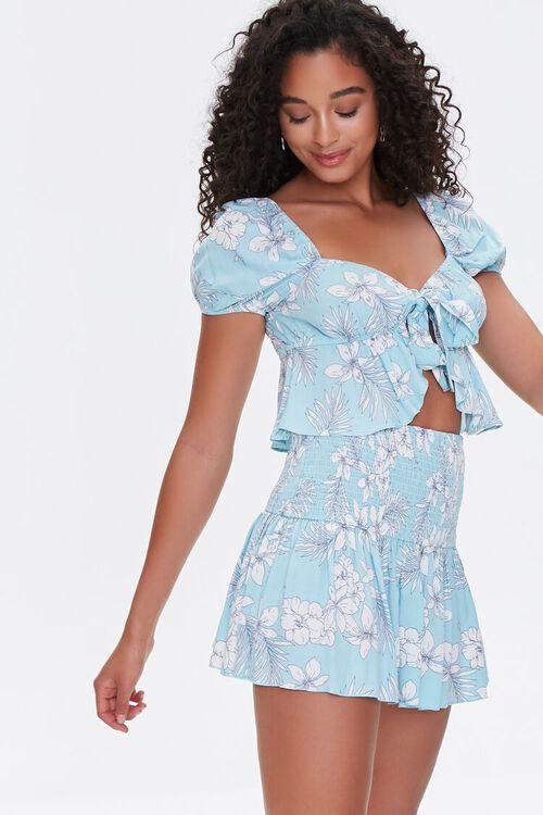 Floral Print Mini Skirt, image 1