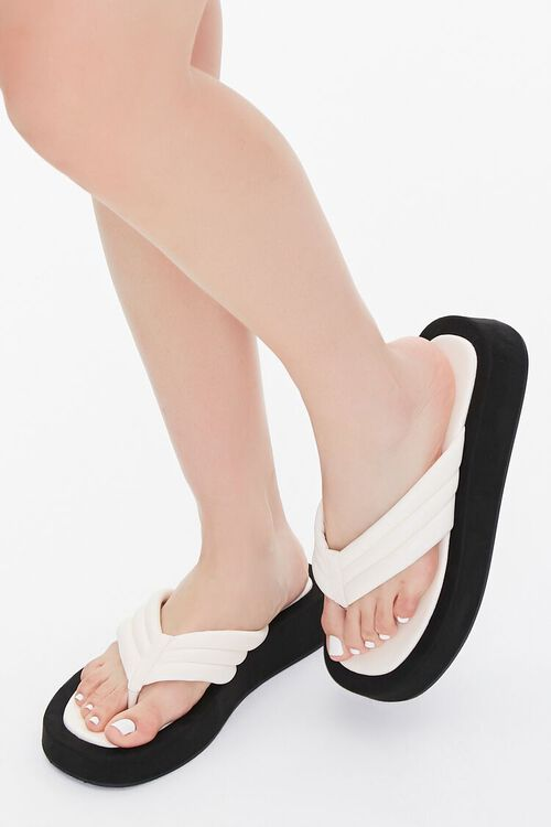 Quilted Thong-Toe Flatform Sandals, image 1