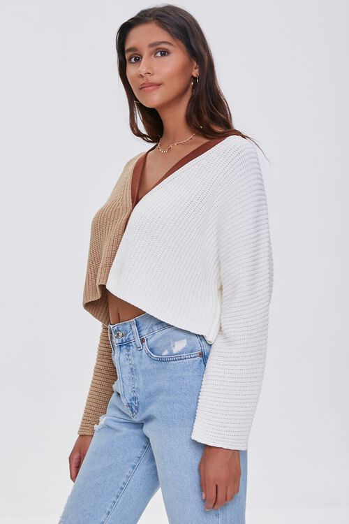 Cropped Colorblock Cardigan Sweater, image 2