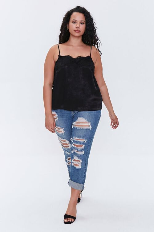 Plus Size Satin Lace-Trim Cami, image 4