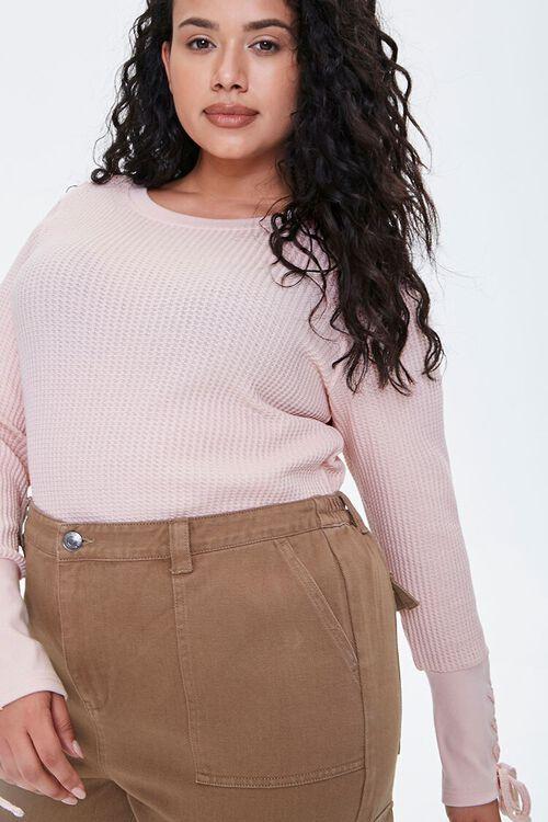 Plus Size Lace-Up Waffle Knit Top, image 5