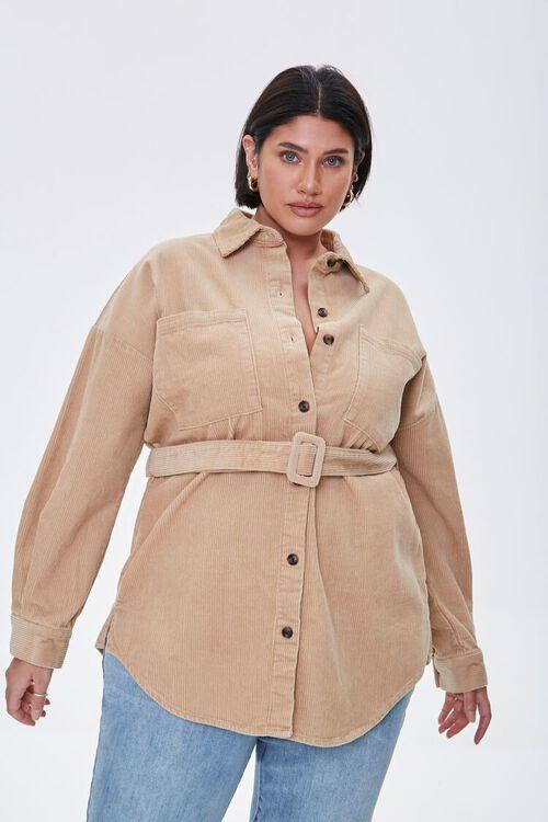 Plus Size Corduroy Belted Shacket, image 1