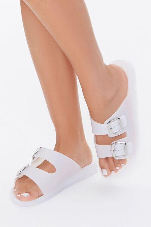 WHITE Buckled Flatform Sandals, image 1