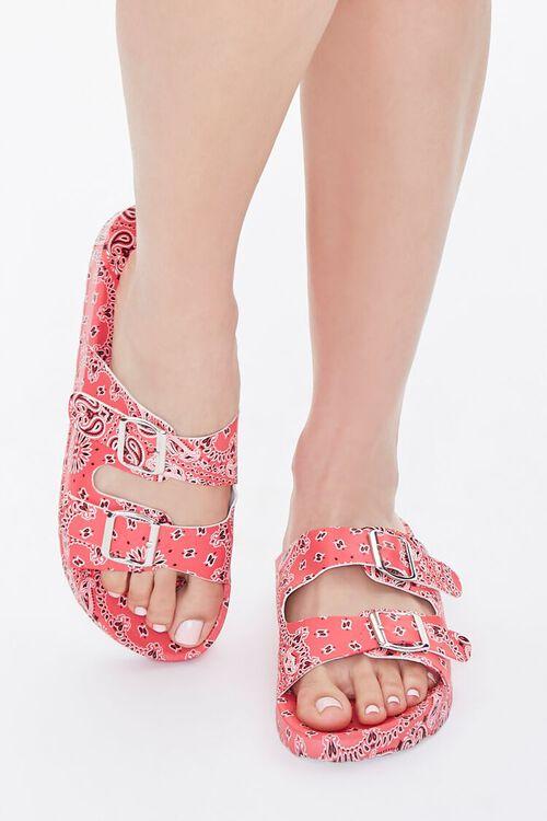 Bandana Print Buckled Flatform Sandals, image 4