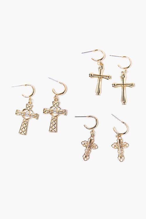 Ornate Cross Pendant Hoop Earring Set, image 1