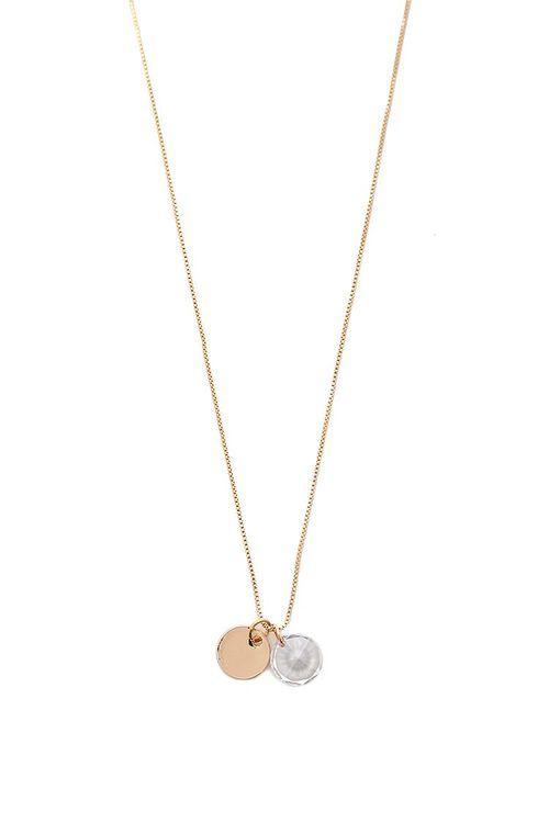 GOLD Faux Gem & Disc Pendant Necklace, image 1