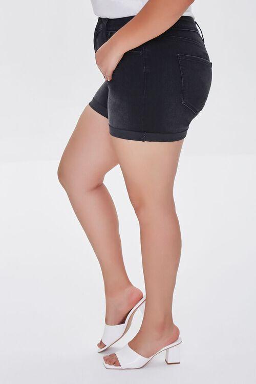WASHED BLACK Plus Size Cuffed Denim Shorts, image 3