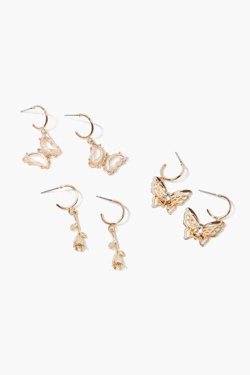 Butterfly Charm Hoop Earring Set, image 1