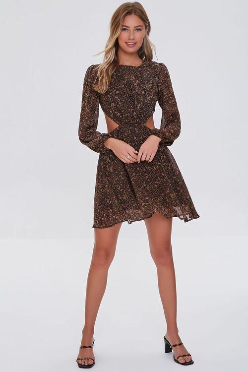 Paisley Cutout Mini Dress, image 4