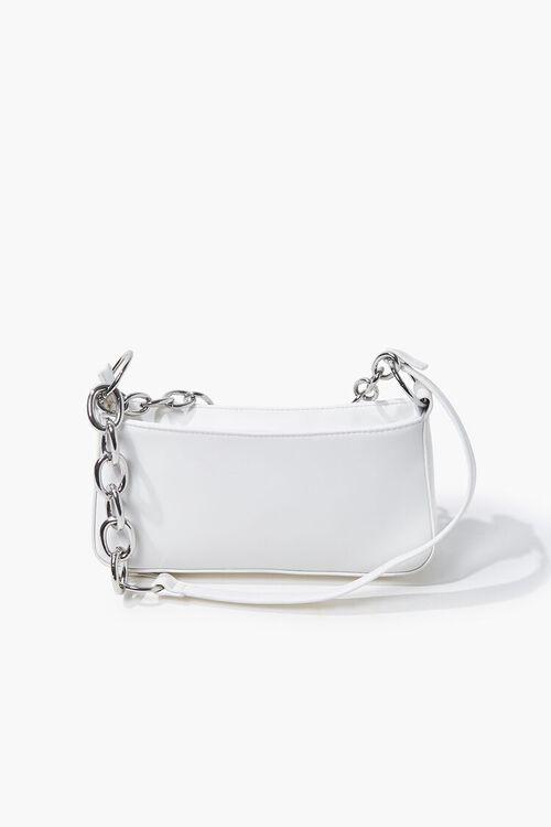 WHITE Faux Leather Shoulder Bag, image 4