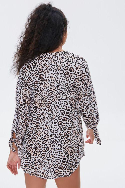 TAN/BLACK Leopard Print Kaftan Swim Cover-Up, image 3