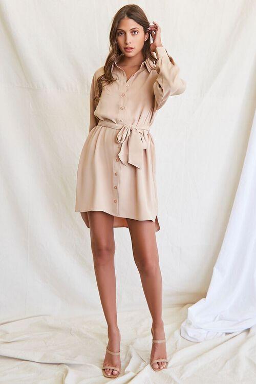 TAUPE Tie-Waist Shirt Dress, image 4