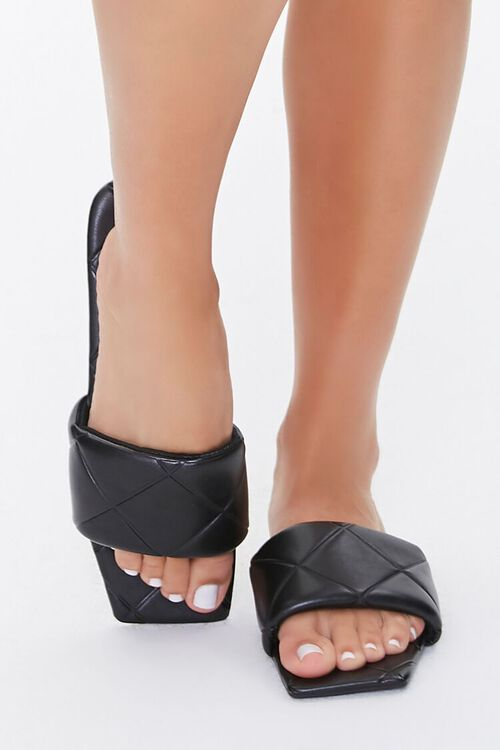 BLACK Quilted Square-Toe Sandals, image 2
