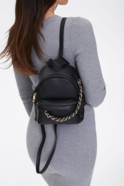 Mini Faux Leather Backpack, image 2