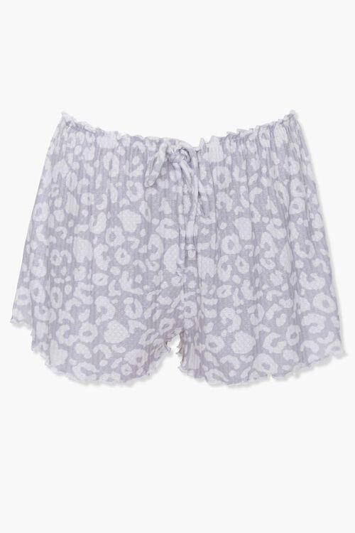 GREY/WHITE Animal Print Sleep Shorts, image 1