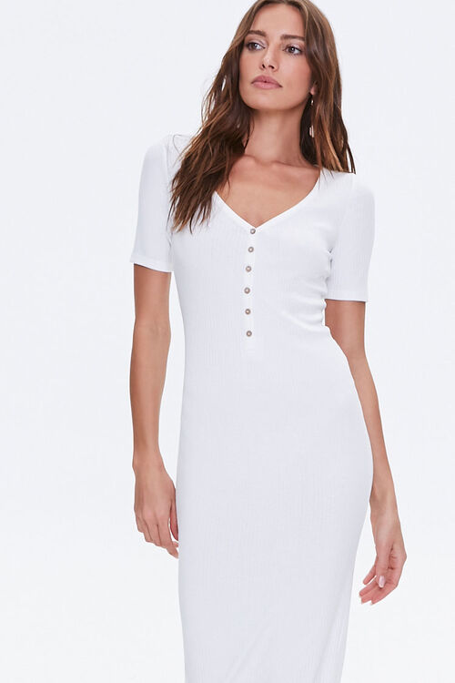 Ribbed Button-Front Midi Dress, image 1