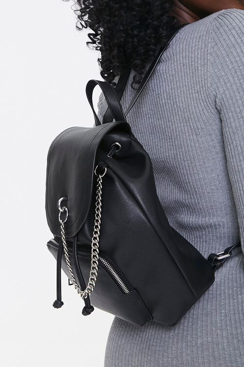Faux Leather Drawstring Backpack, image 2