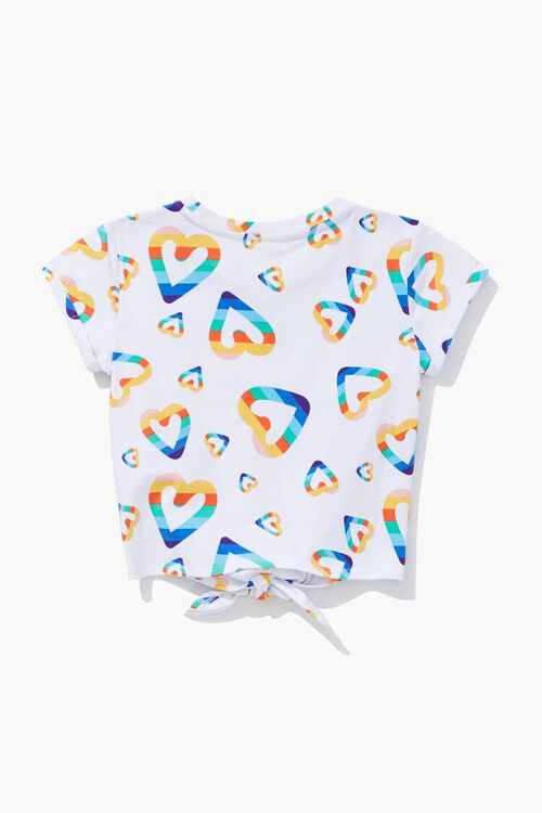 Girls Heart Print Knotted Tee (Kids), image 2