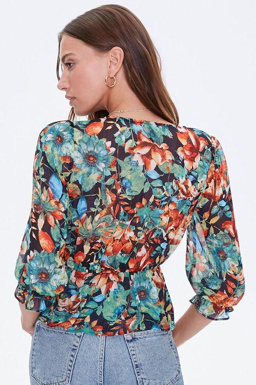 Floral Flounce-Hem Surplice Top, image 3