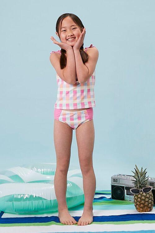 PINK/MULTI Girls Plaid Two-Piece Swimwear Set (Kids), image 1