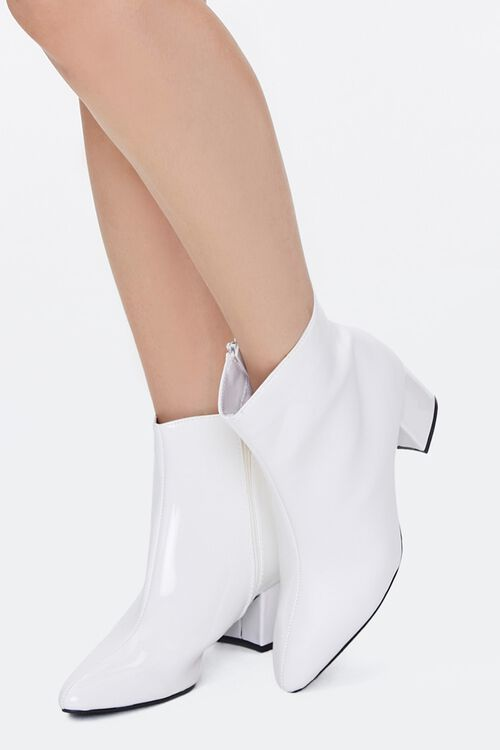 Faux Patent Leather Booties, image 1
