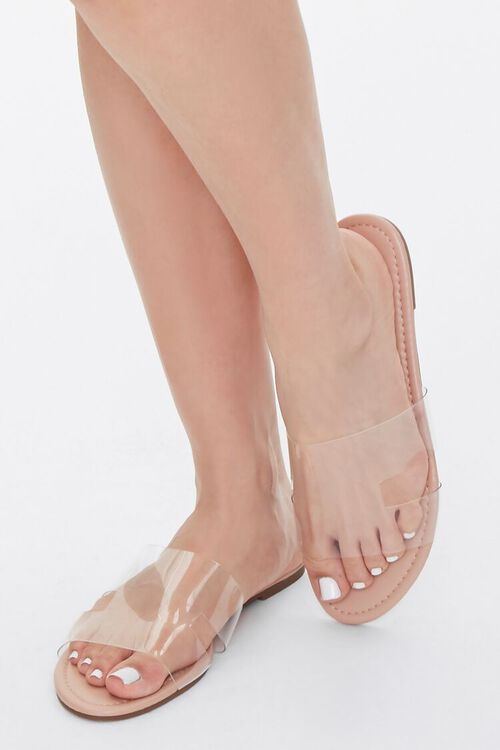 Faux Leather Clear-Strap Sandals, image 1