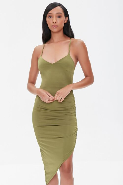 Ruched Bodycon High-Low Dress, image 1
