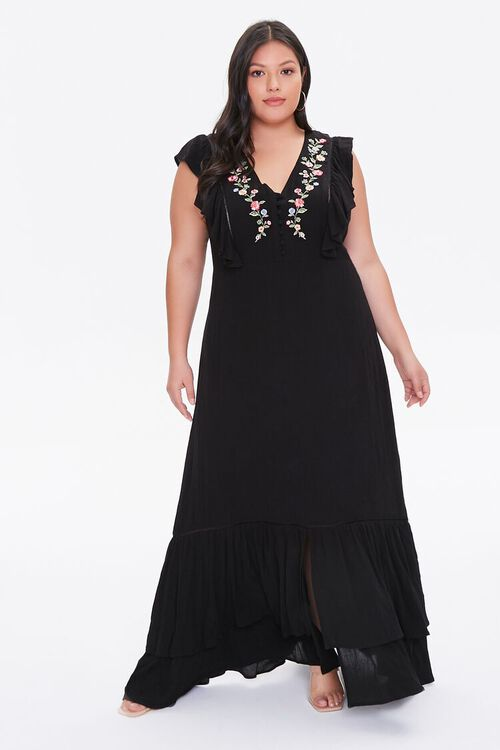 Plus Size Embroidered Maxi Dress, image 2