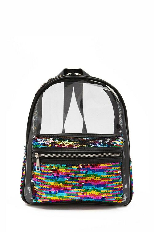 Rainbow Sequin Transparent Backpack, image 1
