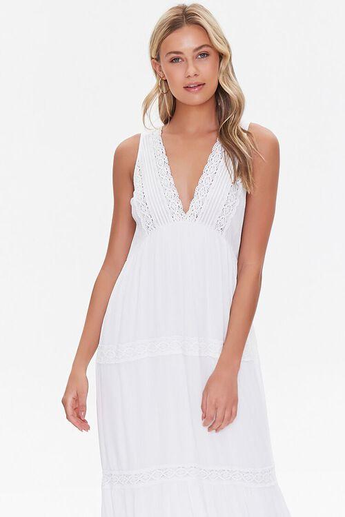 Plunging Lace-Trim Maxi Dress, image 4