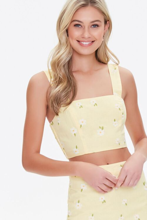 Floral Embroidered Crop Top, image 1