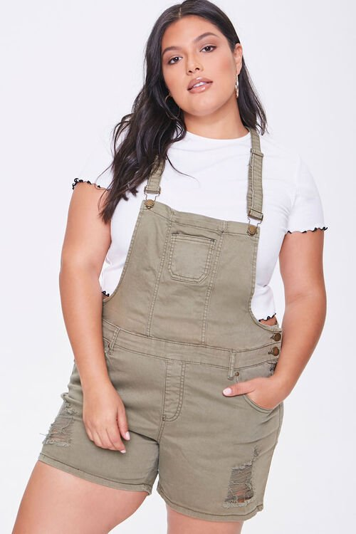 Plus Size Distressed Overall Shorts, image 1