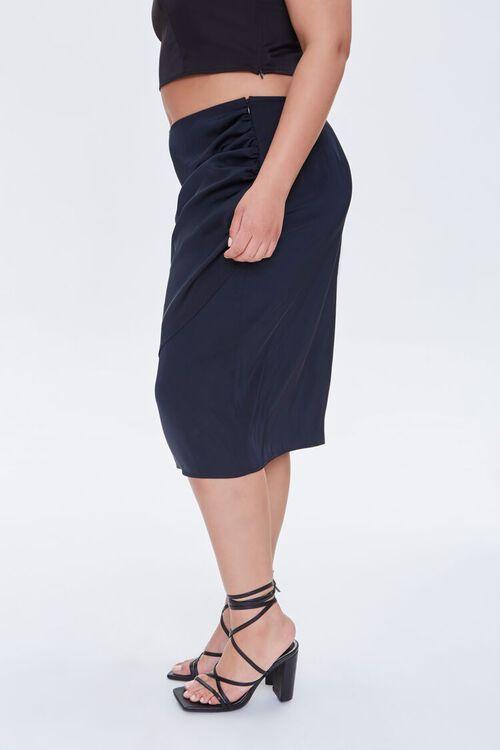 Plus Size Ruched Tulip-Hem Skirt, image 3