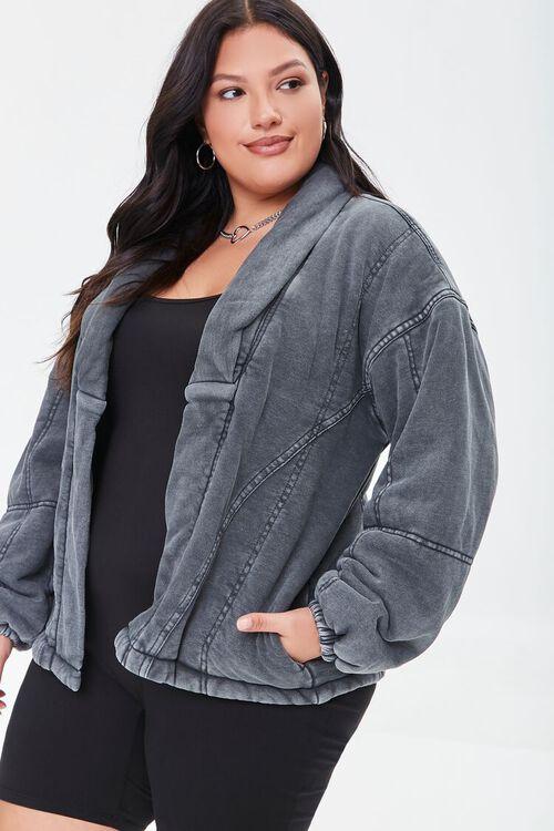 BLACK Plus Size Mineral Wash Jacket, image 5