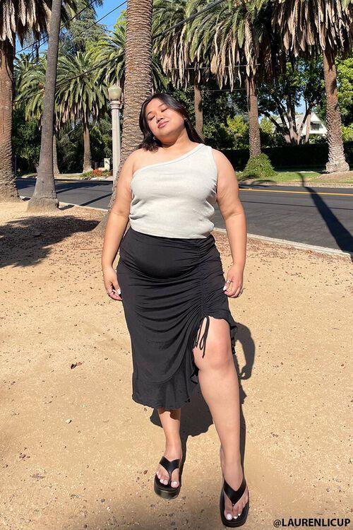 Plus Size Ruched Drawstring Midi Skirt, image 1