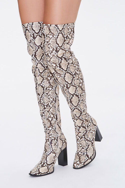 Faux Snakeskin Over-the-Knee Boots, image 1