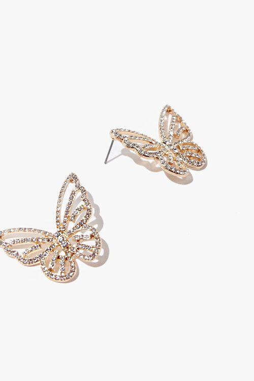 Butterfly Rhinestone Stud Earrings, image 3