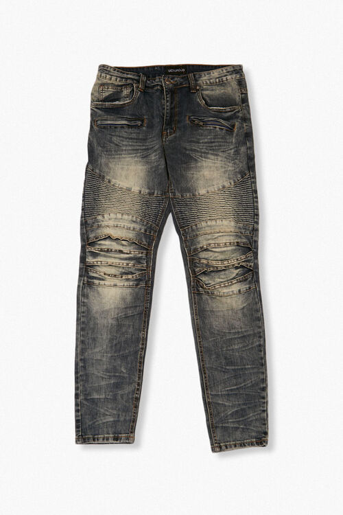 Faded Slim-Fit Moto Jeans, image 1
